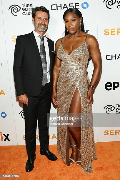 Tennis coach Patrick Mouratoglou and Tennis Player Serena Williams attend the EPIX New York Premiere of 'Serena' on June 13 2016 in New York City