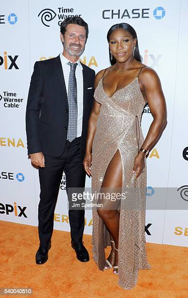 Tennis coach Patrick Mouratoglou and tennis player Serena Williams attend the premiere of EPIX original documentary 'Serena' at SVA Theatre on June...