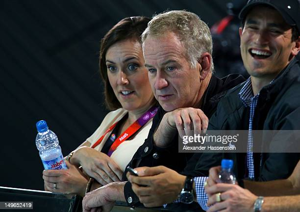 Tennis commentator John McEnroe watches the night session of swimming on Day 5 of the London 2012 Olympic Games at the Aquatics Centre on August 1,...