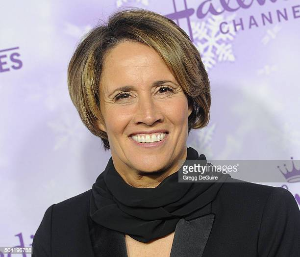Tennis commentator Mary Carillo arrives at the Hallmark Channel and Hallmark Movies and Mysteries Winter 2016 TCA Press Tour at Tournament House on...