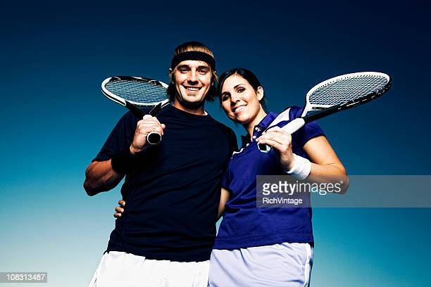 tennis couple - doubles stock photos and pictures