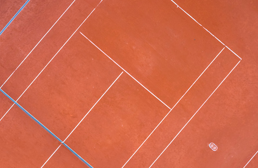 Tennis court. Aerial view, directly above. Drone view. - gettyimageskorea