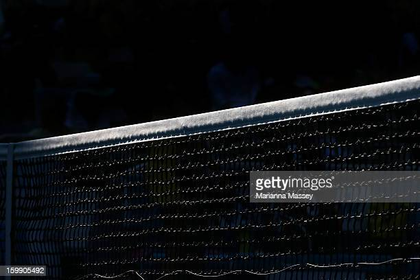 A tennis court net during day ten of the 2013 Australian Open at Melbourne Park on January 21 2013 in Melbourne Australia
