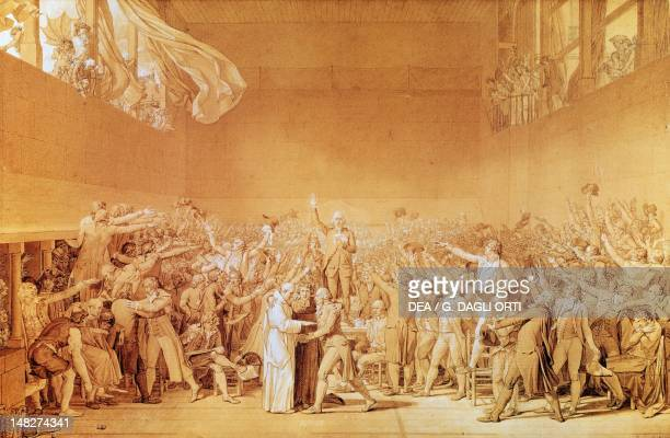 Tennis court or ball game oath by JacquesLouis David drawing Versailles Château De Versailles