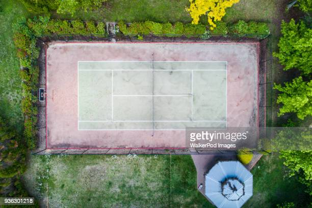 Tennis court viewed from above