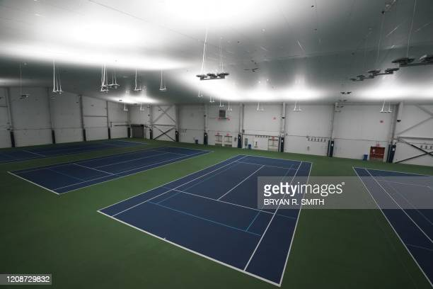 Tennis courts that will be transformed into a a 350bed temporary hospital at the USTA Billie Jean King tennis center in the Borough of Queens on...
