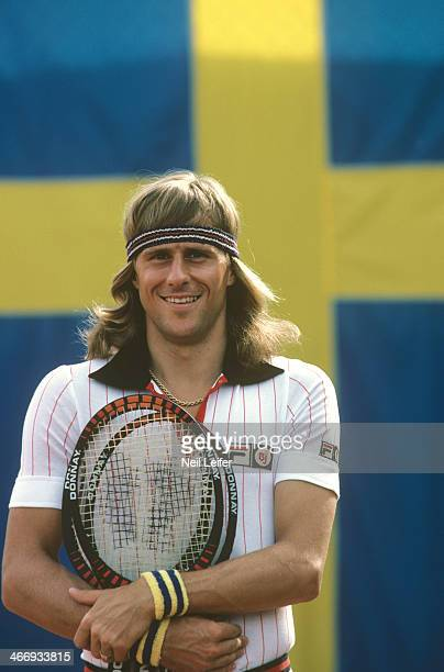 Closeup of Sweden Bjorn Borg posing in front of his national flag before Zone A Semifinals match vs West Germany at Bastad Tennis Stadium. Bastad,...