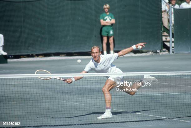 Davis Cup USA Stan Smith in action during match at Olde Providence Racquet Club Charlotte NC CREDIT Bruce Roberts