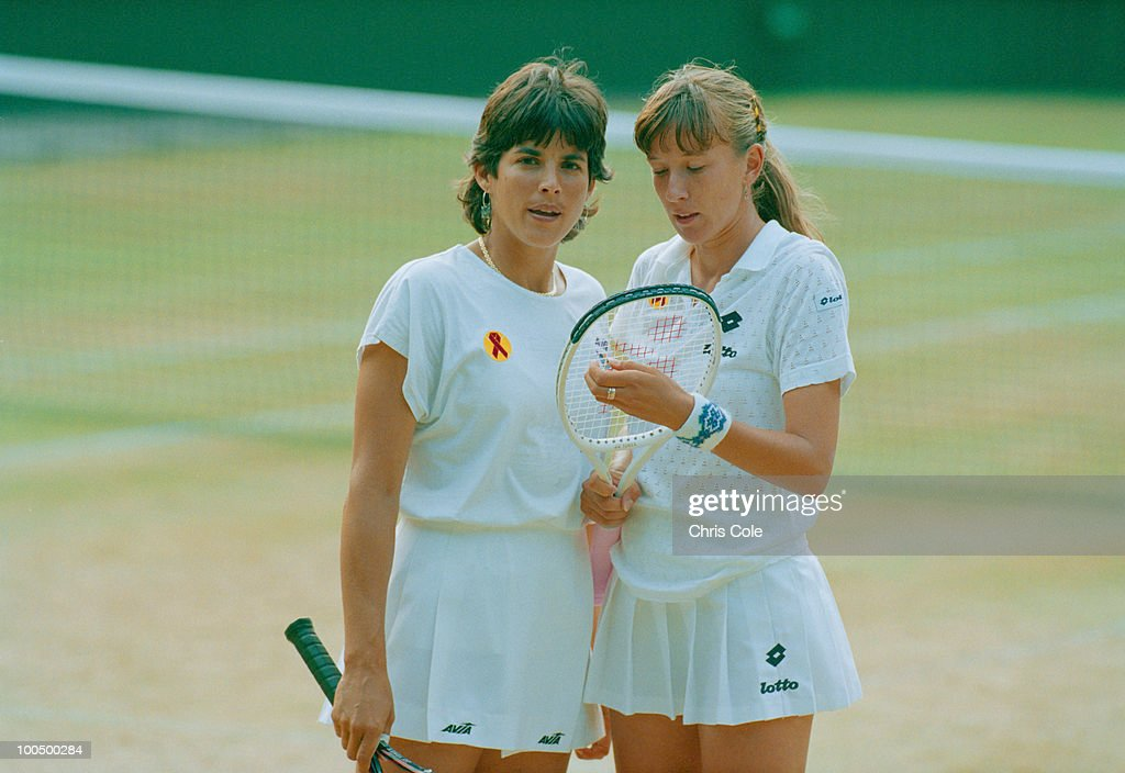 Tennis doubles partners Gigi Fernandez (left) and Natasha Zvereva at the final of the Women's Doubles at Wimbledon, 1993. Fernandez and Zvereva beat Jana Novotna and Larisa Neiland to win the match 6-4, 6-7(9), 6-4.