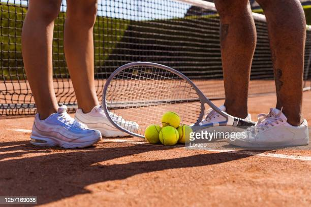 tennis equipment on a court - international match stock pictures, royalty-free photos & images