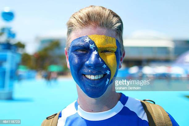 A tennis fan shows his support for Bosnia and Herzegovina during the 2014 Australian Open at Melbourne Park on January 17 2014 in Melbourne Australia