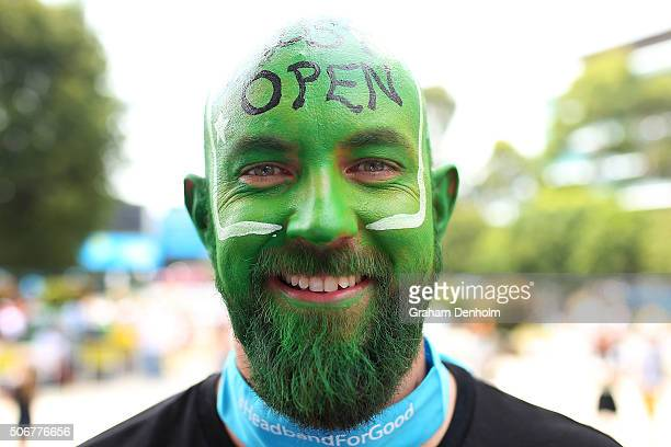 A tennis fan shows his support on Australia Day during day nine of the 2016 Australian Open at Melbourne Park on January 26 2016 in Melbourne...