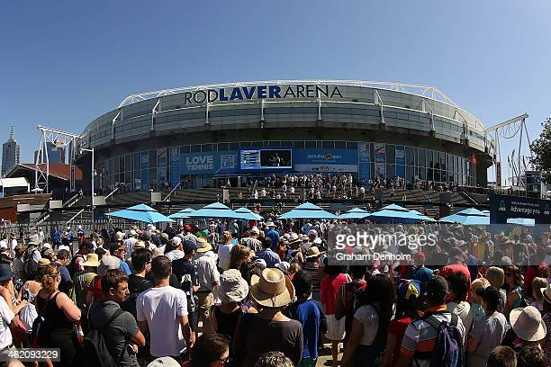 Tennis fans arrive for day one of the 2014 Australian Open at Melbourne Park on January 13 2014 in Melbourne Australia