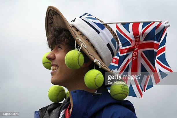 Tennis fans gather on 'Murray Mount' to watch the final day at Wimbledon on July 8 2012 in London England Andy Murray is the first British man to...