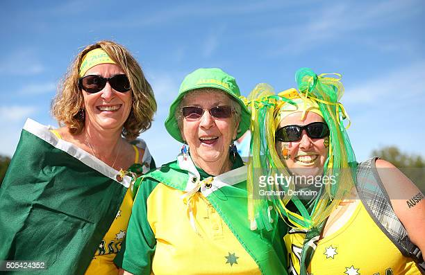 Tennis fans show their support for Australia during day one of the 2016 Australian Open at Melbourne Park on January 18 2016 in Melbourne Australia
