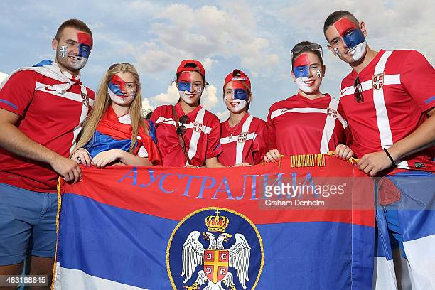 Tennis fans show their support for Serbia during day five of the 2014 Australian Open at Melbourne Park on January 17 2014 in Melbourne Australia