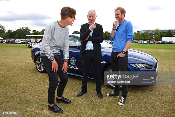 Tennis fans Tom Payne and Nick Webb chat with 3-time Wimbledon Champion John McEnroe in front of the Jaguar XE as part of the #FeelWimbledon campaign...