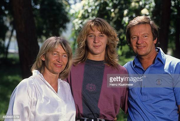 Feature Portrait of Steffi Graf with her father Peter and mother Heidi Bruhl West Germany 6/9/1986 CREDIT Heinz Kluetmeier