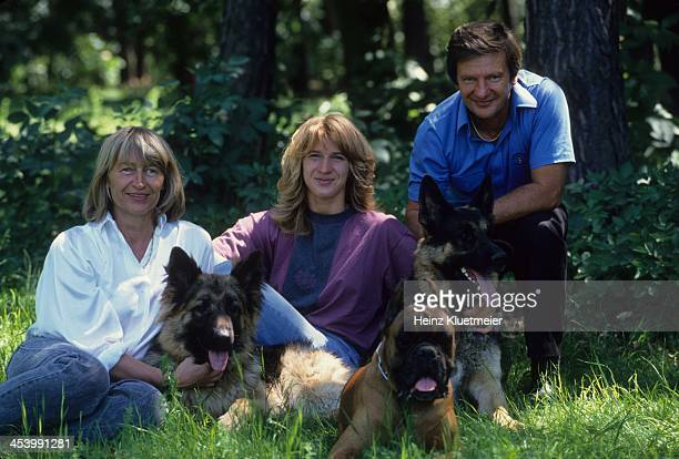 Feature Portrait of Steffi Graf with mother Heidi and father Peter and their dogs Bruhl West Germany 5/8/1989 CREDIT Heinz Kluetmeier