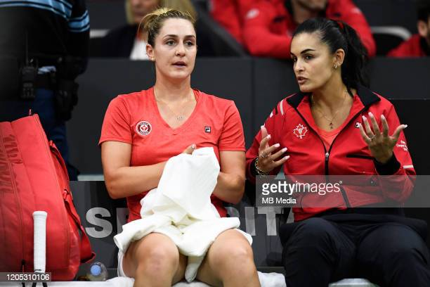 Tennis Fed Cup Canada's Captain Heidi El Tabakh encourages Gabriela Dabrowski during the Fed Cup match against Switzerland February 7th 2020