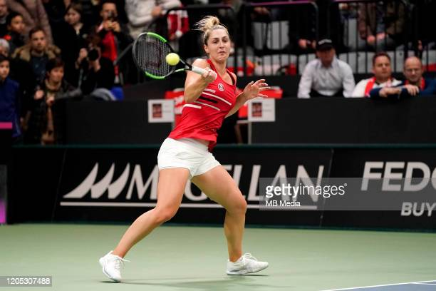 FEBRUARY 08 Tennis Fed Cup Canada's Gabriela Dabrowski in action during Fed Cup match between Switzerland and Canada on February 82020 in...