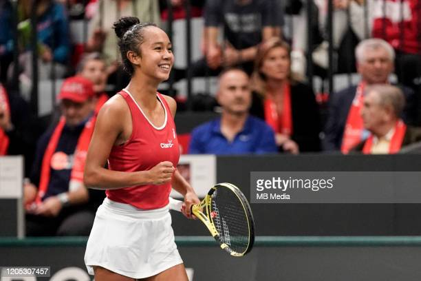 FEBRUARY 08 Tennis Fed Cup Canada's Leylah Annie Fernandez in action during Fed Cup match between Switzerland and Canada on February 82020 in...