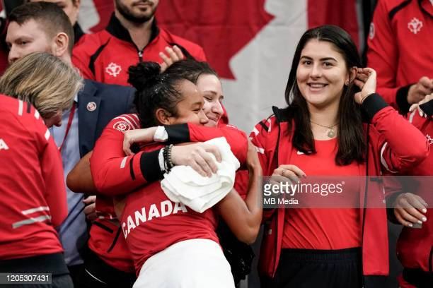 FEBRUARY 08 Tennis Fed Cup Canada's Leylah Annie Fernandez with Bianca Andreescu after the Fed Cup match between Switzerland and Canada on February...