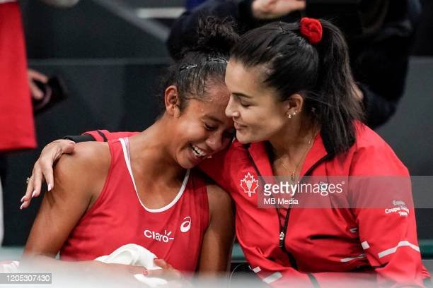 FEBRUARY 08 Tennis Fed Cup Canada's Leylah Annie Fernandez with her Captain Heidi El Tabakh after the Fed Cup match between Switzerland and Canada on...