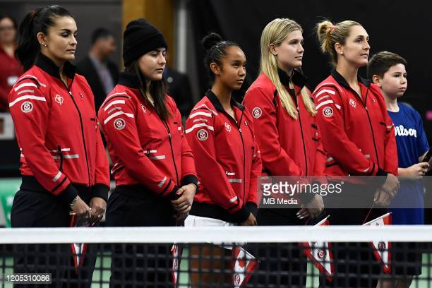 Tennis Fed Cup Team Canada line up prior to the Fed Cup tie against Switzerland Captain Heidi El Tabakh Bianca Andreescu Leylah Annie Fernandez...
