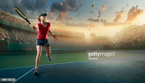 Tennis: Female sportsman in action