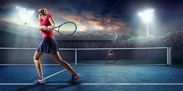 Tennis: Female sportsman in action 671278020