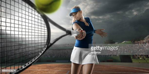 tennis: female sportsman in action - sport set competition round stock photos and pictures