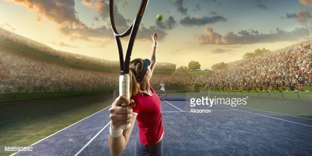 Tennis: Female sportsman in action