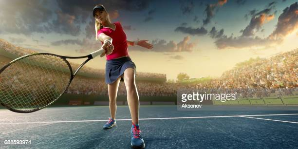 tennis: female sportsman in action - tennis tournament stock pictures, royalty-free photos & images