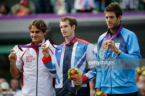 Tennis Finals -- Pictured: Roger Federer, Andy Murray, Juan Martin Del Potro --