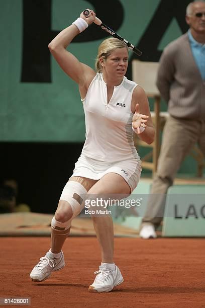 Tennis French Open BEL Kim Clijsters in action vs Lindsay Davenport at Roland Garros Paris FRA 5/29/2005