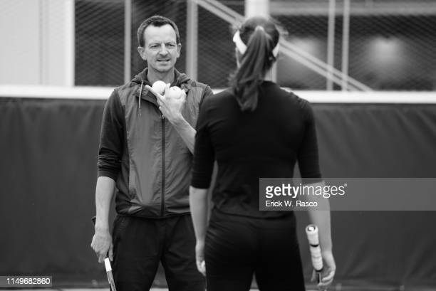 French Open Closeup of Dimitri Zavialoff with Great Britain Johanna Konta during practice session on Court 4 at Roland Garros Paris France 6/7/2019...