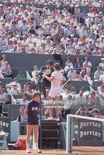 Tennis French Open Jimmy Connors talking with umpire during match at Roland Garros Paris FRA 6/3/1985