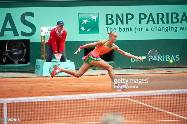 French Open Netherlands Arantxa Rus in action vs Belgium Kim Clijsters during Women's 2nd Round at Stade Roland Garros Paris France 5/26/2011 CREDIT...