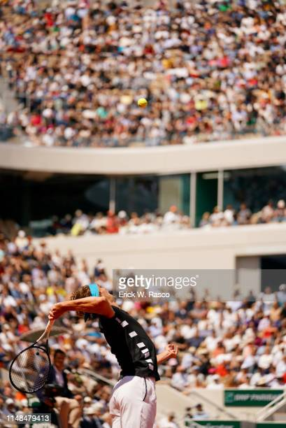 French Open Rear view of Germany Alexander Zverev in action serve vs Serbia Novak Djokovic Men's Quarterfinals at Stade Roland Garros Paris France...