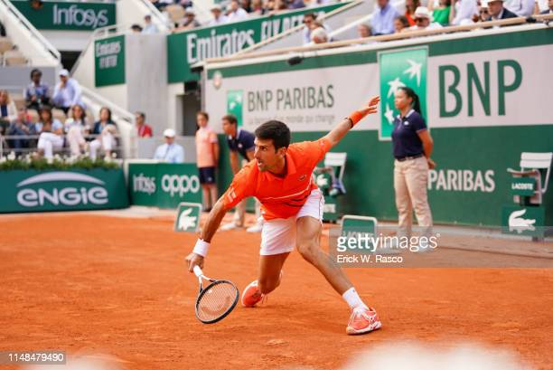 French Open Serbia Novak Djokovic in action vs Germany Alexander Zverev during Men's Quarterfinals at Stade Roland Garros Sequence Paris France...