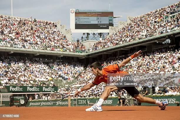 French Open Serbia Novak Djokovic in action vs Switzerland Stanislas Wawrinka during Men's Final at Stade Roland Garros Paris France 6/7/2013 CREDIT...