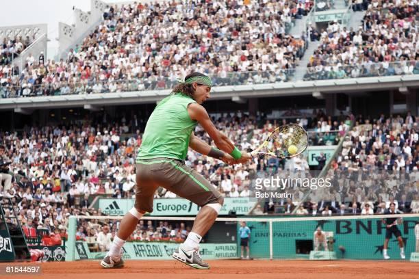 Tennis French Open Spain Rafael Nadal in action vs Switzerland Roger Federer during Finals at Roland Garros Paris France 6/8/2008 CREDIT Bob Martin