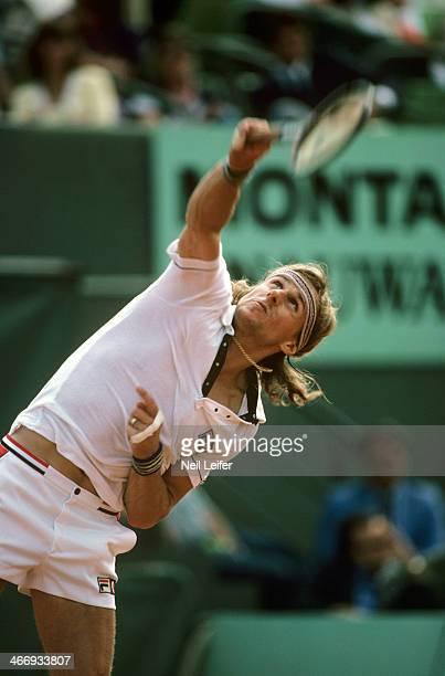 Sweden Bjorn Borg in action, serve during match at Stade Roland Garros. Paris, France 5/26/1980 - 6/8/1980 CREDIT: Neil Leifer