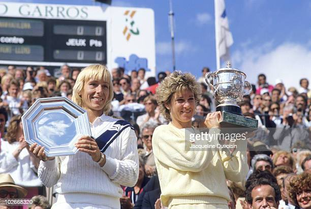 French Open USA Martina Navratilova with runner's up trophy and USA Chris Evert with Coupe Suzanne Lenglen Trophy after Women's Finals at Stade...