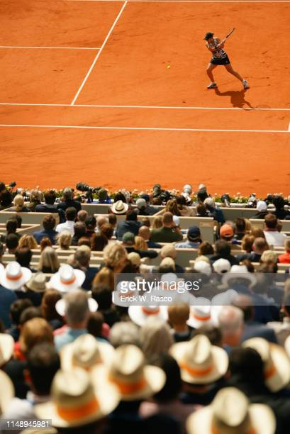 French Open View of Australia Ashleigh Barty in action vs Czech Republic Marketa Vondrousova during Women's Finals match at Stade Roland Garros Paris...