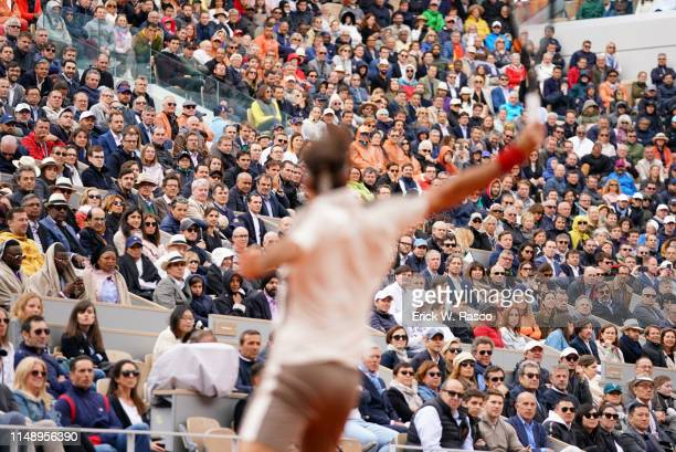 French Open View of fans in stands during Men's Semifinal match between Switzerland Roger Federer vs Spain Rafael Nadal at Stade Roland Garros Paris...