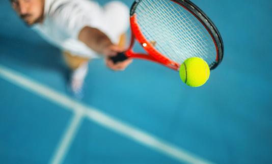 Tennis game at night. 917865742