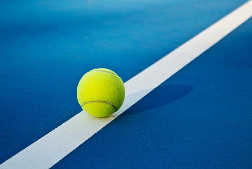 Tennis game. Tennis balls on the tennis court. Sport, recreation concept 1148175834