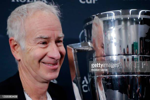 Tennis great John McEnroe, captain of Team World in the upcoming Laver Cup, speaks to the media at TD Garden in Boston on March 3, 2020 to promote...